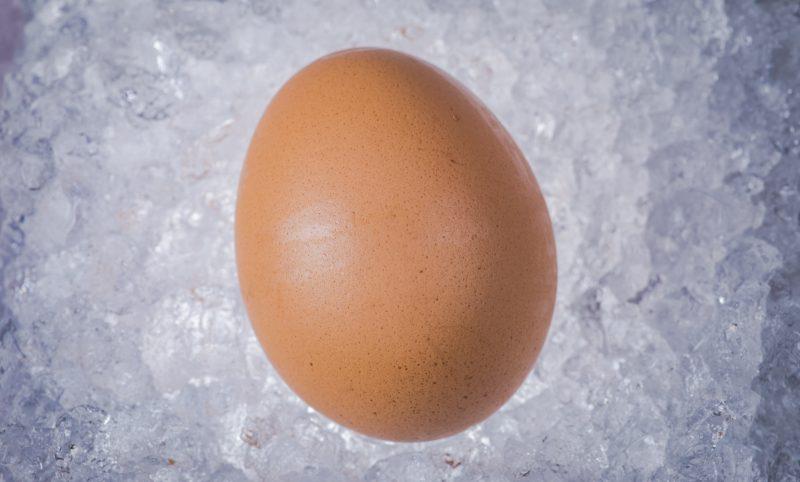 eggs resting on ice, frozen