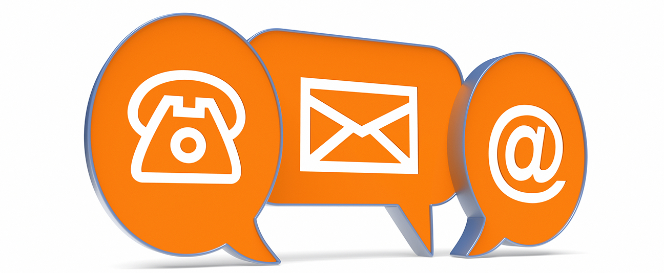 Contact symbols for email, post and telephone, as 3D speech bubbles.